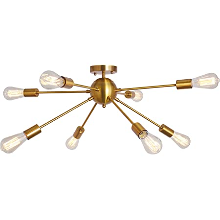 Sputnik Chandelier 8 Lights Modern Semi Flush Mount Ceiling Light Pendant Light Fixture, Brass