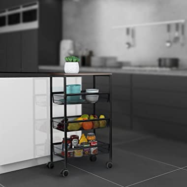 MOOACE Kitchen Cart on Wheels, 3-Tire Metal Mesh Rolling Utility Cart with Wood Cover, Multifunction Wire Basket Shelf Trolle