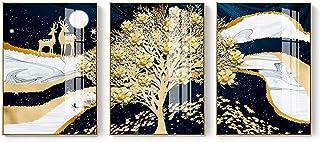 Équipement de vie mural moderne et simple arbres d'or girafe lune poisson rouge motif bleu toile matériel en alliage d'alu...