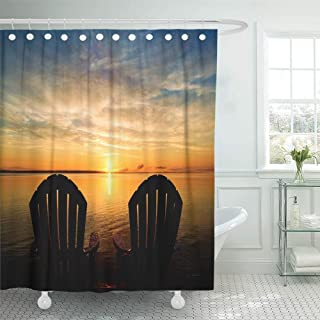 Emvency Shower Curtain Waterproof Adjustable Polyester Fabric The Backs of Two Adirondack Chairs Waiting at End Dock to Enjoy Early Morning Summer 60 x 72 Inches Set with Hooks for Bathroom