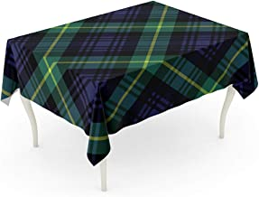 Semtomn 60 x 102 Inch Decorative Rectangle Tablecloth Green Plaid Gordon Tartan Check Pattern No Gradients Blue Waterproof Oil-Proof Printed Table Cloth