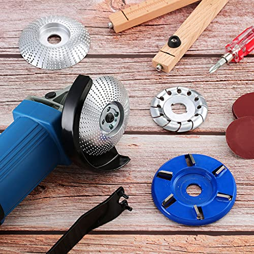 12 Teeth Wood Carving Disc Wood Shaping Disc Cutting Wheel 6 Teeth Wood Turbo Carving Disc Grinder Chain Disc Wood Carving Polishing Shaping Disc Angle Grinder Attachments 5 Pieces
