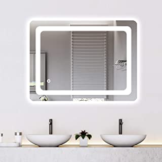 Cozy Castle Bathroom Mirror with LED Lights Lighted Makeup Vanity Mirror Wall Mounted Frameless Large Size 32x24 inch Rectangular, Memory Touch Button, Horizontal/Vertical, Warm White/Daylight Lights
