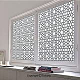 30x48 inch Window Privacy Film,Moroccan Style Mosaic Ornament Geometric Patterns Classic Decorative Art Print Non-Adhesive Static Cling Frosted Window Film,Window Stickers for Kids Home Office