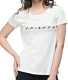NUTSPIN F.R.I.E.N.D.S Graphic Printed T-Shirt for Women - White