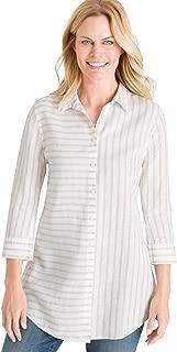 Women's No-Iron Linen Side-Button Tunic