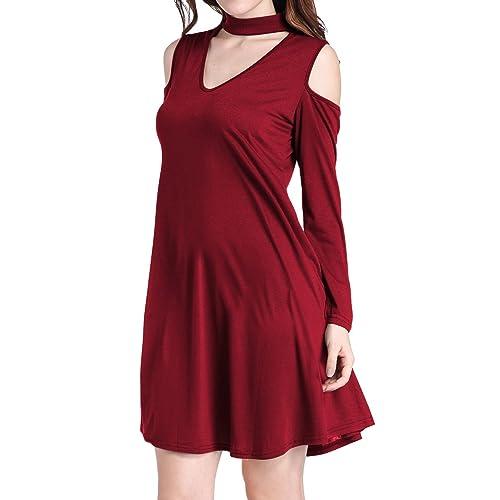 PCEAIIH Women s Choker Strap V Neck Cold Shoulder Plain Simple T-Shirt Dress 5f46b8879