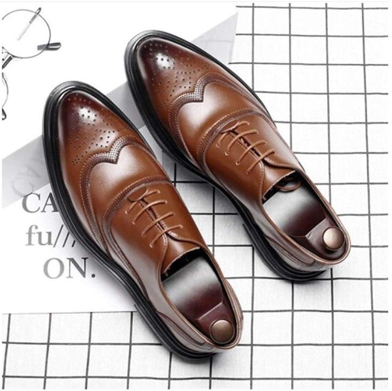 GUYUEXUAN Chaussures en Cuir, Chaussures Respirantes for Hommes, Chaussures de Ville Britanniques, Chaussures habillées de Grande Taille, Noir Marron en Option
