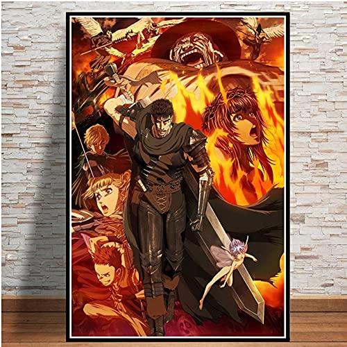 Puzzle 1000 piezas Japón Miura Kentaro Berserker Anime japonés Dibujos animados retro puzzle 1000 piezas paisajes Rompecabezas de juguete de descompresión intelectual edu50x75cm(20x30inch)