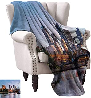 WinfreyDecor City Home Throw Blanket Early Morning Scenery in Melbourne Australia Famous Yarra River Scenic Bedroom Warm 60