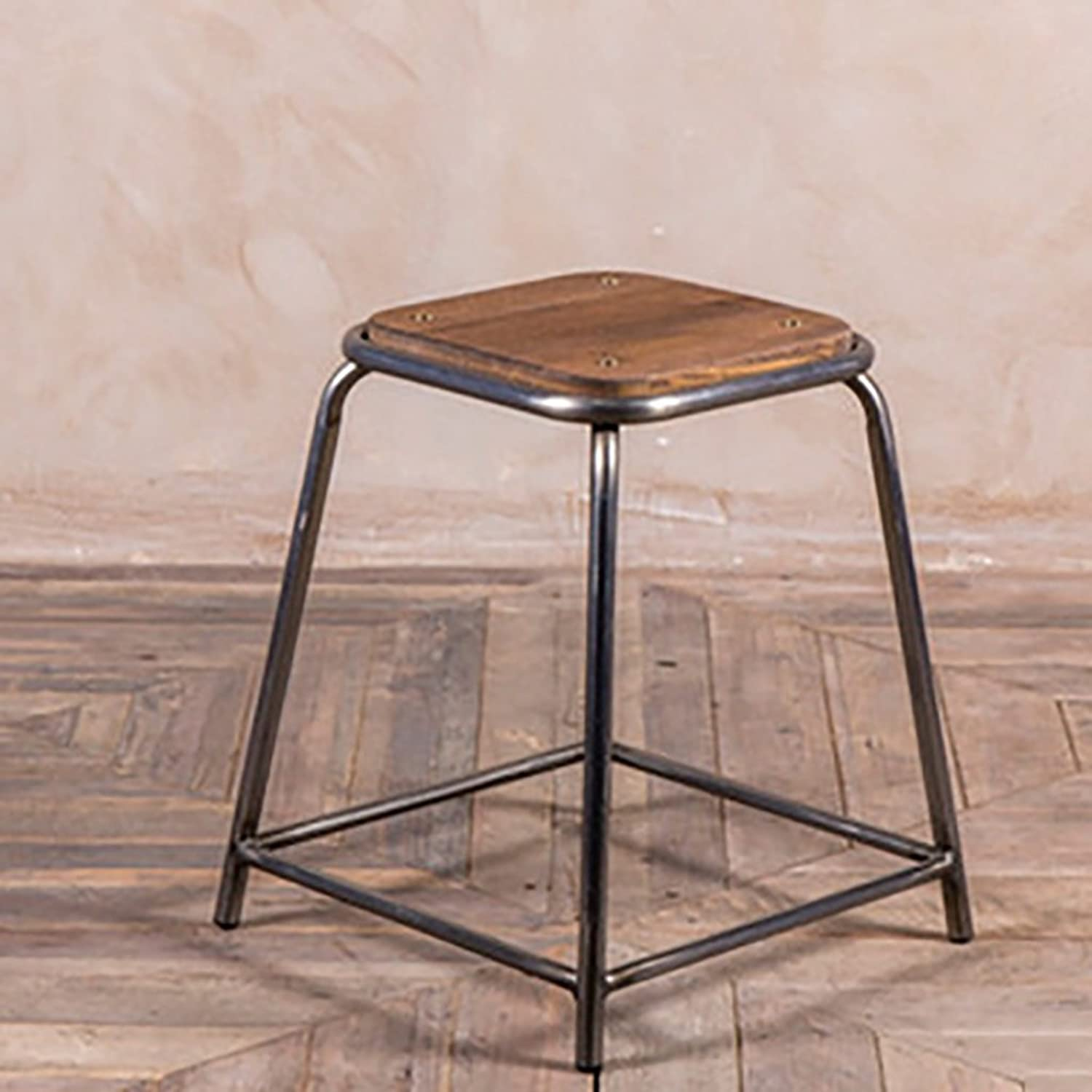 Bar stools Bar stools Industrial Stool Breakfast Stool Tieyi Solid Wood Bench Cafe Leisure high - Legged bar Stool Height Chair (color   45cm)
