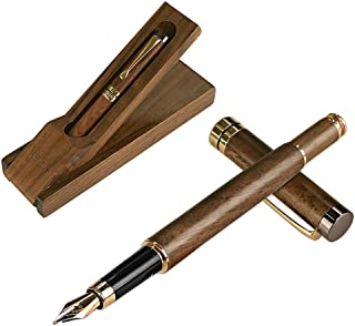HENZIN Fountain Pen Wooden Ink Pen Handcrafted Walnut with Ink Refill Converter and Gift Box Vintage Drawing Writing Journal Calligraphy Pens For Refillable Ink Cartridges Gift For Women Men