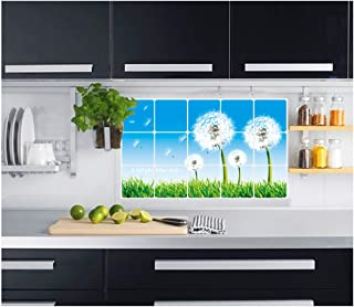 Jaamso Royals Nature Design Kitchen Protection Anti-Mark Oil Proof Easy Clean Plastic Wall Stickers Flowers Tiles Design H...