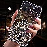 Saceebe Compatibile con Galaxy A51 Custodia TPU Silicone Transparente Glitter Cielo stellato trasparente Silicone TPU Cover Ultra Sottile Bumper Case Morbida Antigraffio,nero