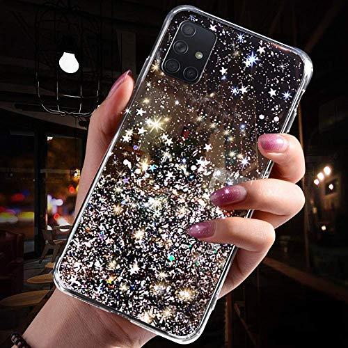 Herbests Kompatibel mit Samsung Galaxy A51 Hülle Bling Glänzend Glitzer Sterne Pailletten Strass Diamant TPU Silikon Schutzhülle Durchsichtig Handyhülle mit Ring Ständer Halter,Schwarz