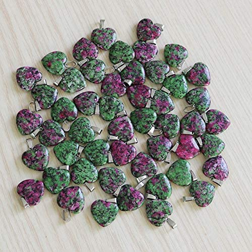 Natural Red and Green Treasure New product Gem Heart 20 Pendants Stone Finally resale start Beads