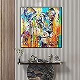 RuiChuangKeJi Cuadros de Pared 80x80cm Sin Marco Lienzo Abstracto Arte de la Pared Malt Tiger Animal Poster Impresiones Decorativas Modernas Marco de la habitación Decoración Principal Pintura