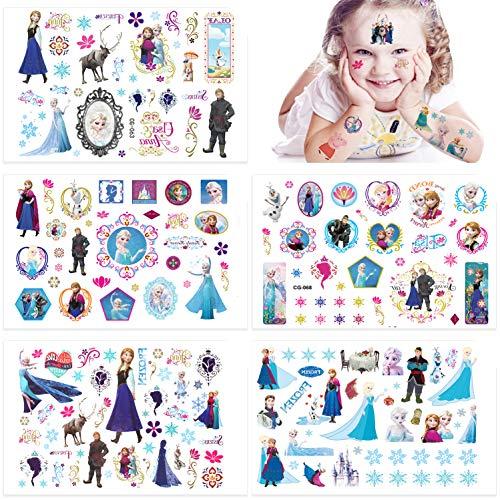 Qemsele Temporäre Tattoo Set Kinder, 10 Sheet 200+ Pcs Tattoos Aufkleber Sticker Wasserdicht Klebe-Tattoos Einhorn Für Geschenktüten Kindergeburtstag Mitgebsel Mädchen Jungen Jugendliche (Frozen)