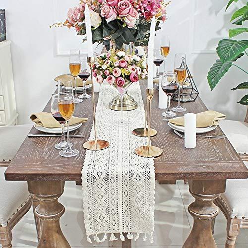 HUANGRONG Camino de mesa de encaje de ganchillo beige con borla de algodón decoración de boda hueco mantel nórdico Romance mesa cubierta café cama corredores hecho a mano