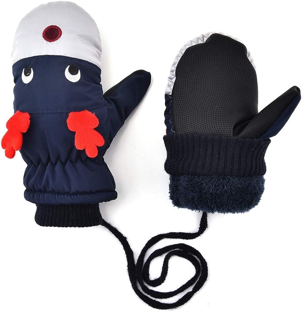 Kids Warm Mittens - Toddler Child Winter Sherpa Lined Fleece Gloves Girls Boys Snow Ski Mitten