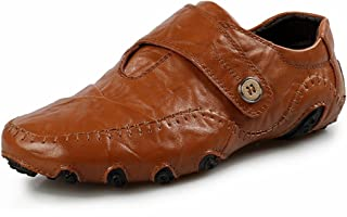 [QIFENGDIANZI] 靴 メンズ ドライビングシューズ カジュアルシューズ ローファー スリッポン モカシン デッキシューズ ビジネスシューズ お洒落 身長アップ 軽量 通気性 アウトドア ローカット 通勤 通学 黒 ブラウン イエロー