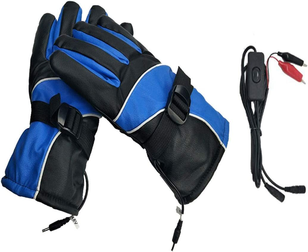 Lupovin-Keep Warm 12V Waterproof Touchscreen Electric Het Gloves Thermic for Motorcycle Outdoor Sport Non-Slip (Color : Blue)