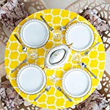 Home One Fitted Elastic Edged Flannel Backed Vinyl Table Cover Round - Arabic Mosaic - (Medium 40'-44', Yellow)