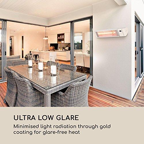 Blumfeldt Gold Fever Smart • Infrarot-Heizstrahler • Terrassenheizstrahler • 2000 W • 6 Wärmestufen • Infrarot-Wärme • Bluetooth • App-Control • bis 20 m² • inkl. Fernbedienung und Wandhalterung • weiß - 2