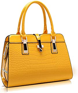 yellow leather duffle bag
