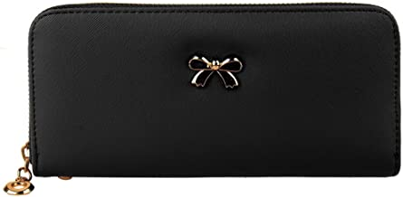 C-Xka Wallets Women Leather Long Ladies Wristlet Clutch Bag Cellphone Purse Large Capacity ID Credit Card Case Pouch Money Organizer Handbag With Wrist Strap, Black