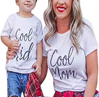 Cool Mom Cool Kid Family Matching T Shirt Mommy and Me Short Sleeve O Neck Tees Tops