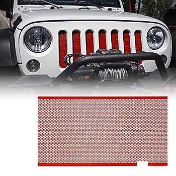 Xprite Red Aluminum Alloy Mesh Grill Inserts Compatible with 2007-2018 Jeep Wrangler JK JKU Original Front Hood Matte Grille Grid