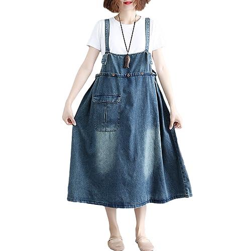 65dc002167 Innifer Women s Plus Size Suspender Strap A Line Denim Bib Jean Overall  Dress
