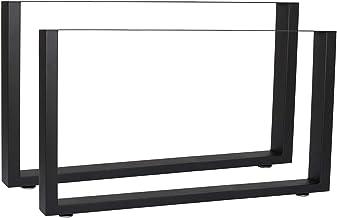 WilTec Industriële Vierkante Tafelpoten Gepoedercoat Zwart 64x40cm voor Tafels Banken en Bureaus