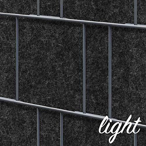 Zaundruck Uni + Design Streifen aus hochwertigen Vlies – Sichtschutz Doppelstabmattenzaun PVC frei (Milano (anthrazit) Light)