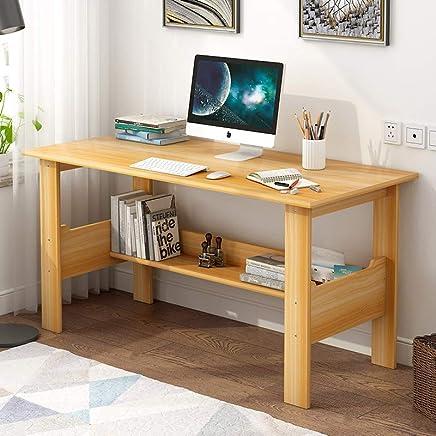简约电脑桌台式桌现代家用书桌学习用桌经济型卧室办公桌带书架写字台 (80cm枫樱木色)