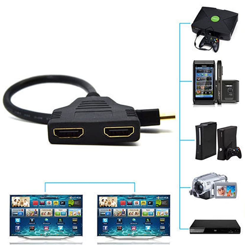 FidgetFidget New 1080P HDMI Port Male to 2Female 1 in 2 Out Splitter Cable Adapter Converter