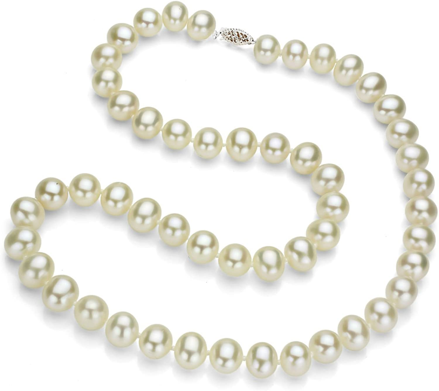 Sterling Silver White Genuine Freshwater Cultured High Luster Pearl Necklace, 18