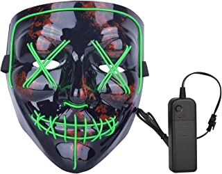 ZOY Scary LED Mask Halloween Costume Light up Mask Cosplay EL Wire Mask Glowing mask