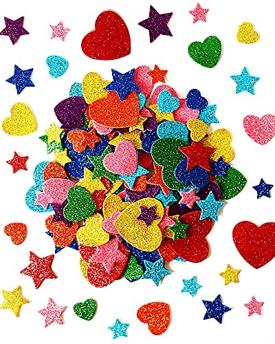 450 Pieces Colorful Glitter Foam Stickers Self Adhesive Stars Mini Heart Shapes Glitter Stickers, Kid's Arts Craft Supplies Greeting Cards Stars Shapes Foam Stickers