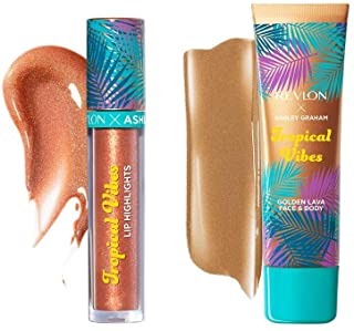 Revlon x Ashley Graham Tropical Vibes Makeup Kit in Tropical Heat, Lip gloss, Face and Body highlighter, Pack of 2