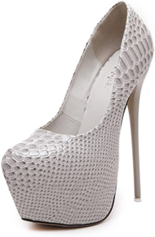 FUN.S Women's Round Toe Platform Slip on High Heel Dress Pumps