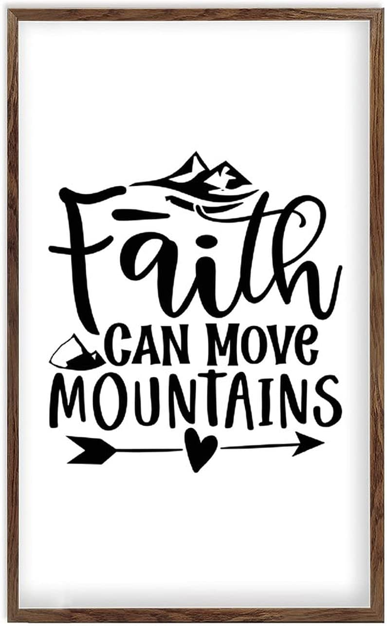 ArogGeld Framed Wood shipfree Sign Faith Ve Bible Move Mountains Popular product Can