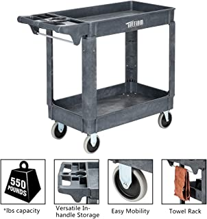 TUFFIOM Plastic Service Utility Cart, Support up to 550lbs Capacity, Heavy Duty Tub Storage Cart W/Deep Shelves, Multipurpose Rolling 2-Tier Mobile Storage Organizer, for Warehouse Garage
