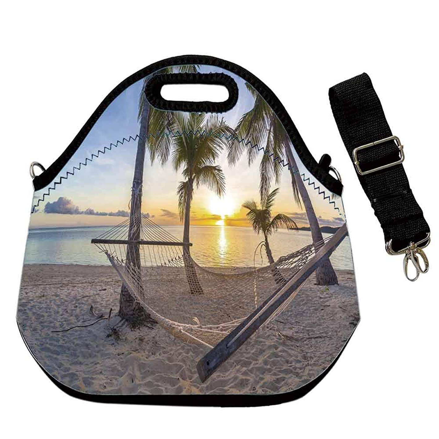 Tropical Decor Custom Neoprene Lunch Bag,Paradise Beach with Hammock and Coconut Palm Trees Horizon Coast Vacation Scenery for Lunch Trip Travel Work,With Shoulder Straps(12.6''L x 6.3''W x 12.6''H)