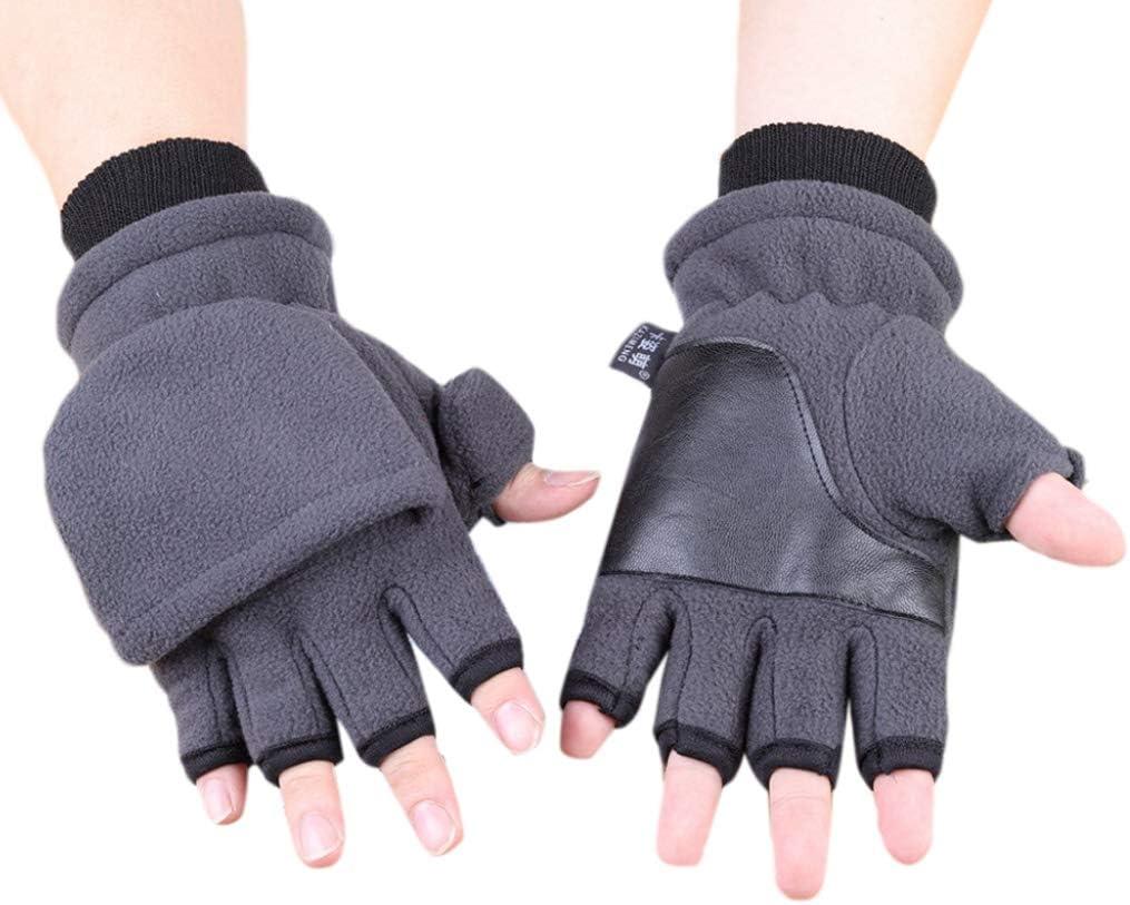 Redriver Unisex Winter Half Finger Flip Gloves,Touch Screen Fingerless Convertible Knitted Thicken Winter Mittens (1 Pair) (Women 21.5x11.5cm(8.46x4.53in), H# Gray(Women))
