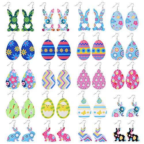 TUPARKA 20 paia orecchini pasquali orecchini in ecopelle pasquale, orecchini uovo di pasqua orecchini coniglietti orecchini pendenti per le donne ragazze regali di pasqua