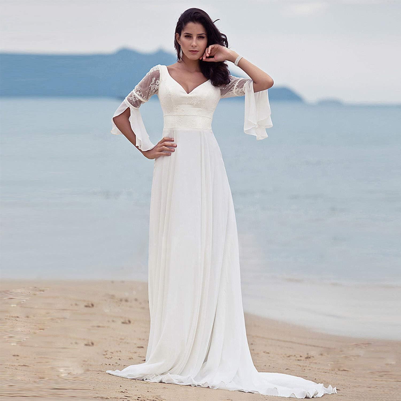 Amazon.com Women's Beach Wedding Dresses, Elegant Simple Sexy V ...