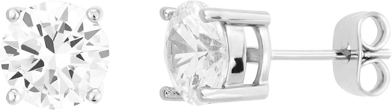 UPSERA Silver Tone Cubic Zirconia Round Indefinitely Stud Earrin Prong-Set CZ Max 75% OFF