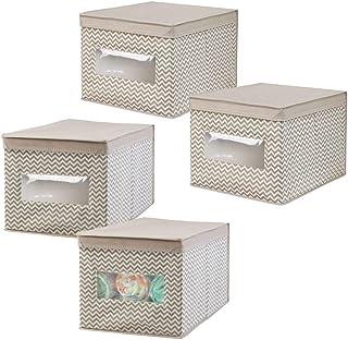 mDesign boîte de rangement respirable avec motifs à chevron – panier de rangement idéal pour jouets, couches et accessoire...